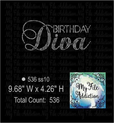 Birthday Diva 2 Rhinestone Digital Download File - My File Addiction