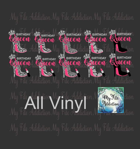 Birthday Queen Stiletto Vector Digital Download File - My File Addiction