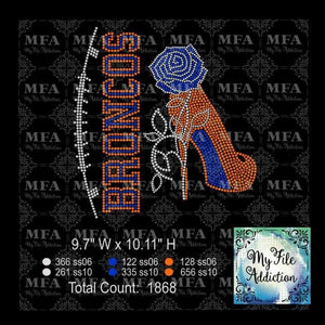 Broncos Rose Stiletto High Heel Shoe Rhinestone Digital Download File - My File Addiction