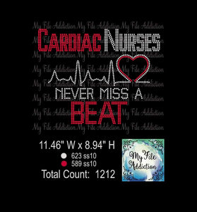 Cardiac Nurses Never Miss A Beat Rhinestone Digital Download File - My File Addiction