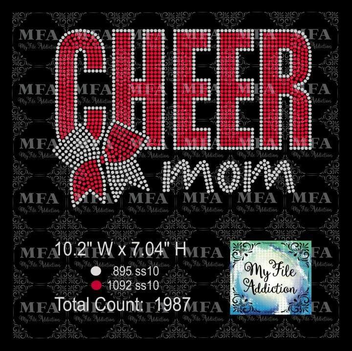 Cheer Mom Bold with Bow Rhinestone Digital Download File - My File Addiction