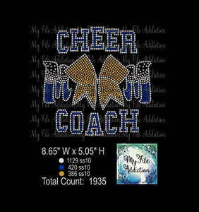Cheer Mom Bow Coach Rhinestone Digital Download File - My File Addiction