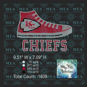 Chiefs High Top Tennis Shoe Sneaker Football Rhinestone Digital Download File - My File Addiction