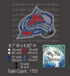 Colorado Avalanche Rhinestone Digital Download File - My File Addiction
