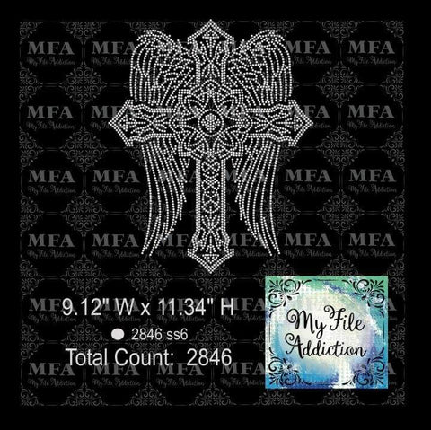 Cross with Wings Rhinestone Digital Download File - My File Addiction