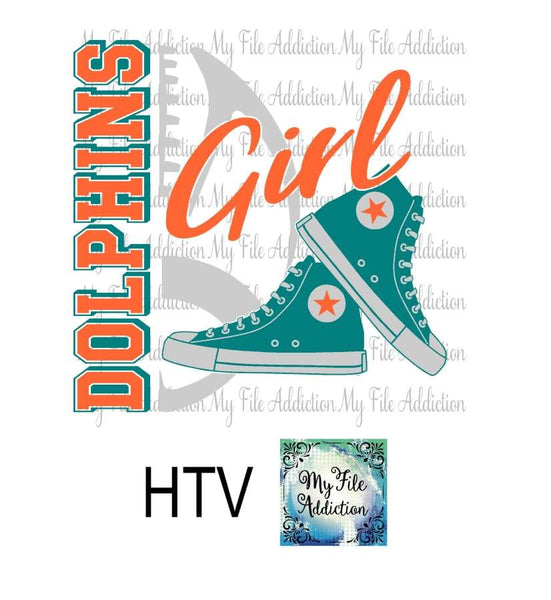 Dolphins Football High Tops Rose Wine High Heel Shoe Vector Digital Download File - My File Addiction