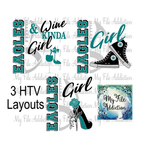Eagles Football High Tops Rose Wine High Heel Shoe Vector Digital Download File - My File Addiction