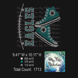 Eagles High Tops Sneakers Rhinestone Digital Download File - My File Addiction