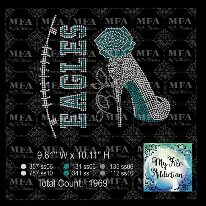 Eagles Rose Stiletto High Heel Shoe Rhinestone Digital Download File - My File Addiction
