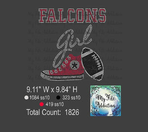 Falcons High Top With Football Rhinestone Digital Download File - My File Addiction