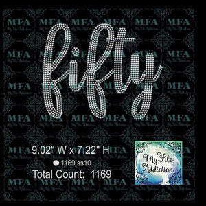 Fifty 50 Birthday Rhinestone Digital Download File - My File Addiction