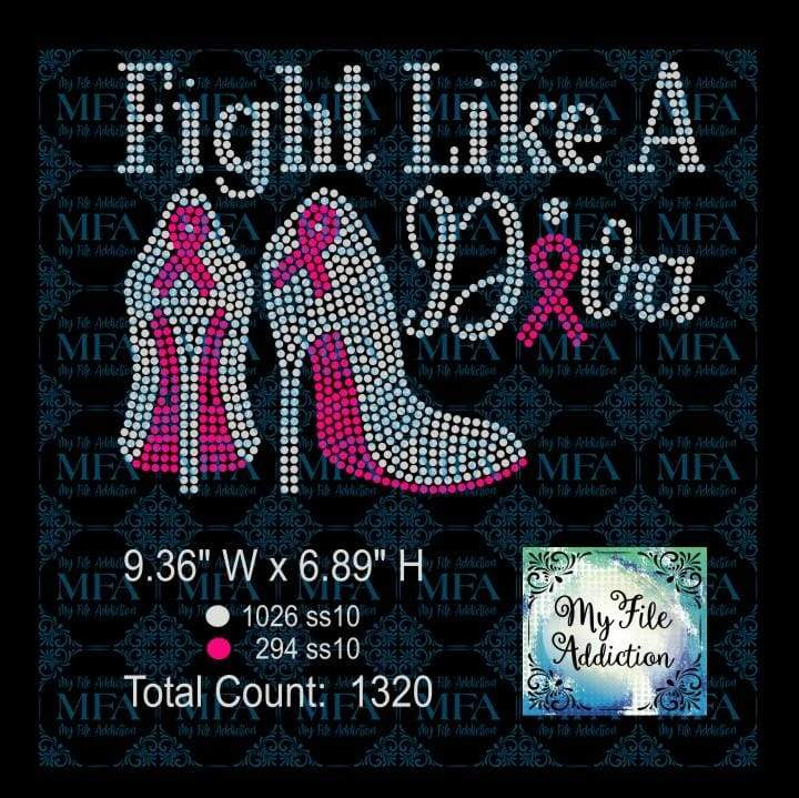 Fight Like A Diva Cancer Awareness Rhinestone Digital Download File - My File Addiction