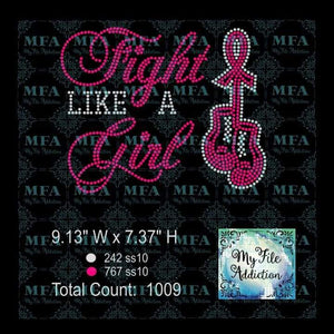 Fight Like A Girl Cancer Awareness Rhinestone Digital Download File - My File Addiction