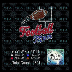 Football Mom With Goal Post Kicker Rhinestone Digital Download File - My File Addiction