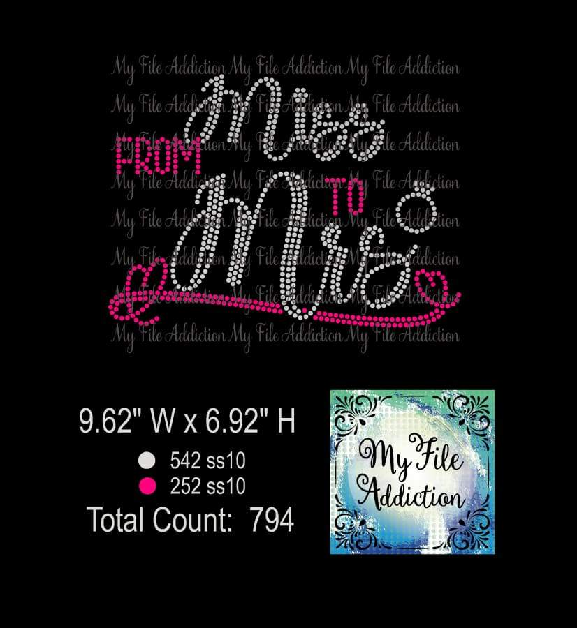 From Miss to Mrs Bride Rhinestone Digital Download File - My File Addiction
