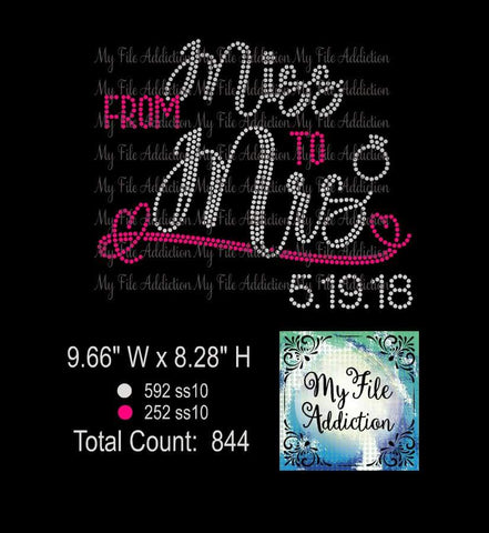 From Miss to Mrs Includes Numbers 0-9 Bride Rhinestone Digital Download File - My File Addiction