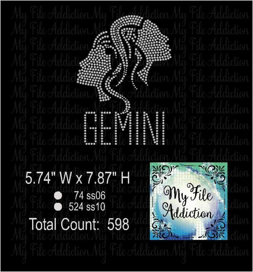 Gemini Zodiac Rhinestone Digital Download File - My File Addiction
