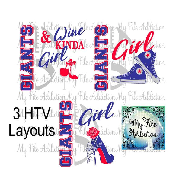 Giants Football High Tops Rose Wine High Heel Shoe Vector Digital Download File - My File Addiction