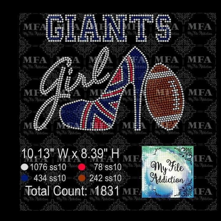 Giants Shoe With Football Rhinestone Digital Download File - My File Addiction