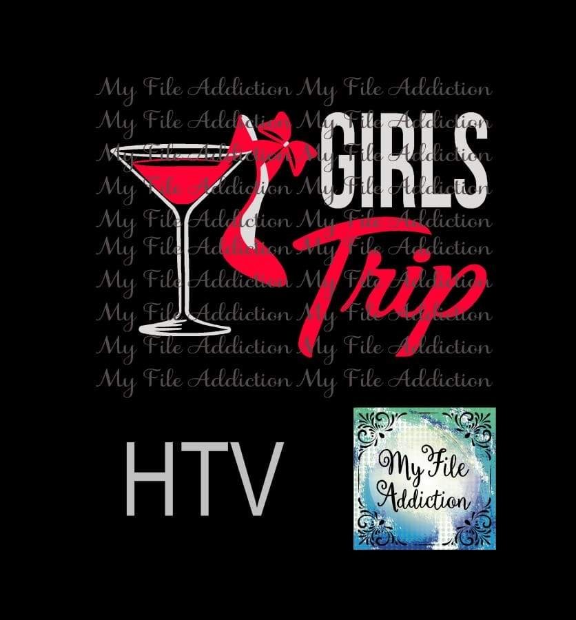 Girls Trip Martini Glass High Heel Vector Digital Download File - My File Addiction