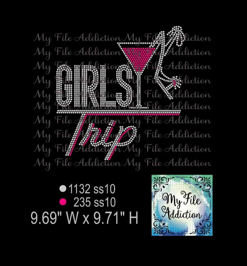 Girls Trip with Martini Glass & Shoe Rhinestone Digital Download File - My File Addiction
