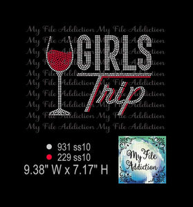 Girls Trip with Wine Glass Rhinestone Digital Download File - My File Addiction