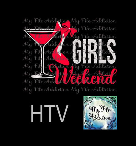 Girls Weekend Martini Glass High Heel Vector Digital Download File - My File Addiction