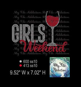 Girls Weekend with Wine Glass Digital Download File - My File Addiction