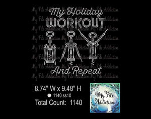 Holiday Workout Wine Rhinestone Digital Download File - My File Addiction
