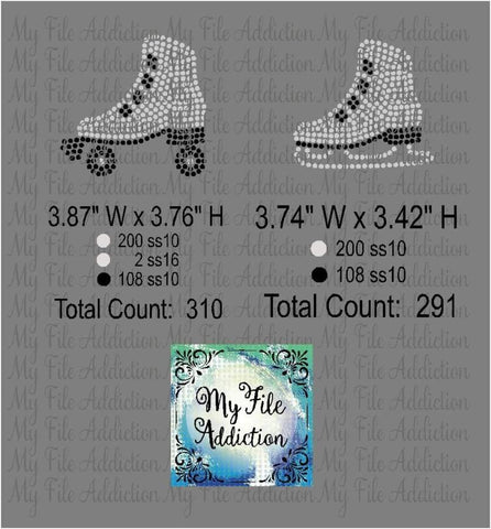 Ice and Roller Skate Rhinestone Digital Download File - My File Addiction