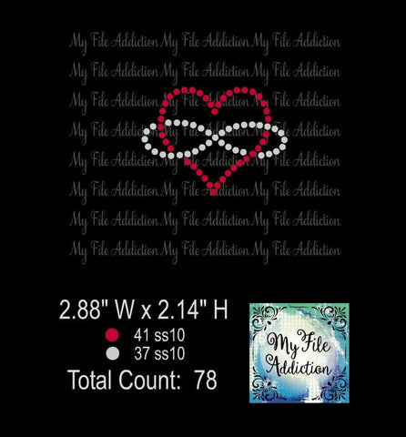 Free Infinity Heart Two Color Rhinestone Digital Download File - My File Addiction