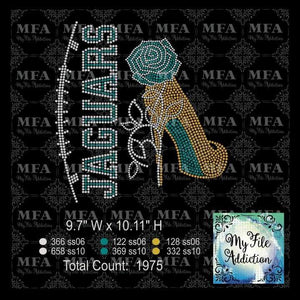 Jaguars Rose Stiletto High Heel Shoe Rhinestone Digital Download File - My File Addiction