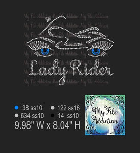 Lady Rider Motorcycle Eyes Rhinestone Digital Download File - My File Addiction