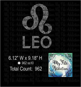 Leo Zodiac 2 Rhinestone Digital Download File - My File Addiction