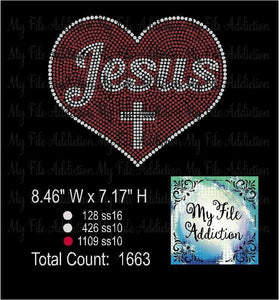 Love Jesus With Cross Rhinestone Digital Download File - My File Addiction