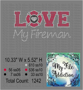 Love My Fireman Rhinestone Digital Download File - My File Addiction