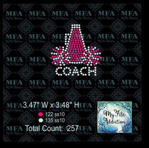 Megaphone Pom Coach Cheer Hat Rhinestone Digital Download File - My File Addiction