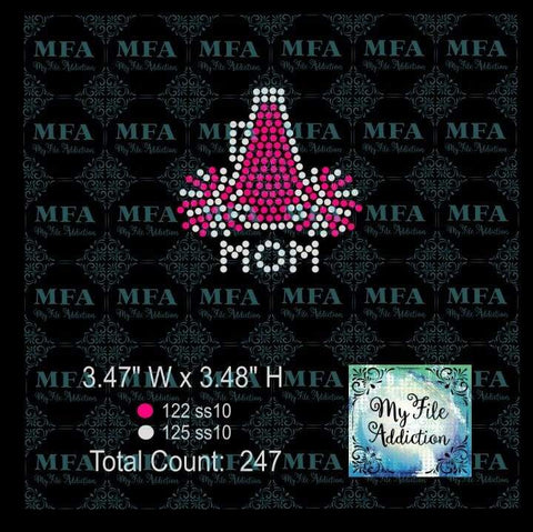 Megaphone Pom Mom Cheer Hat Rhinestone Digital Download File - My File Addiction