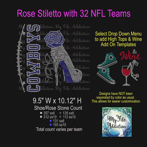 NFL Football 32 Team Names Rose Stiletto High Heel Shoe Rhinestone Digital Download File - My File Addiction