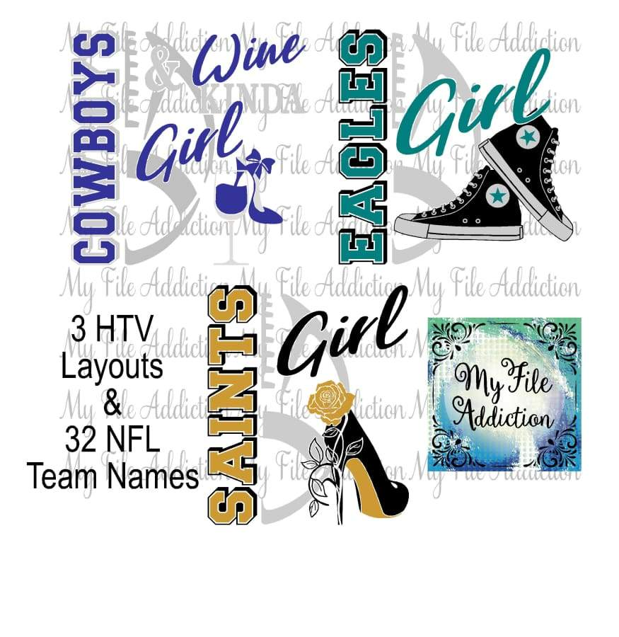 NFL Football High Tops Rose Wine High Heel Shoe Vector Digital Download File - My File Addiction