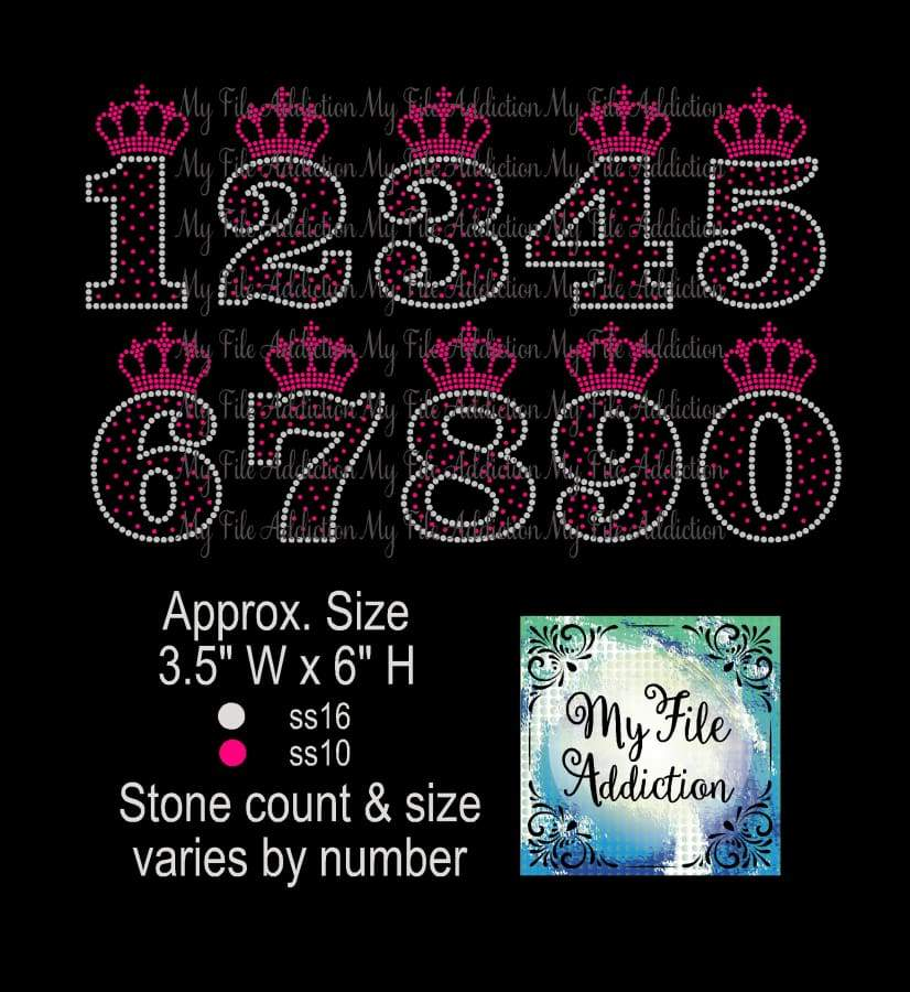 Numbers With Small Crown Birthday Rhinestone Digital Download File - My File Addiction