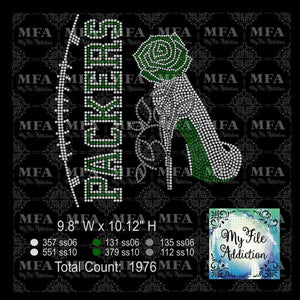 Packers Rose Stiletto High Heel Shoe Rhinestone Digital Download File - My File Addiction