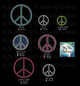 Peace Sign Bundle Rhinestone Digital Download File - My File Addiction