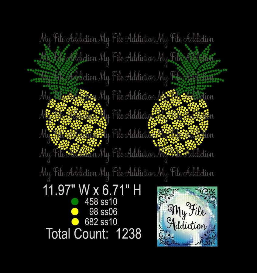 Pineapples Rhinestone Digital Download File - My File Addiction