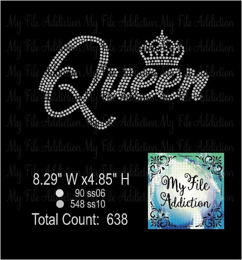 Queen With Small Crown Rhinestone Digital Download File - My File Addiction