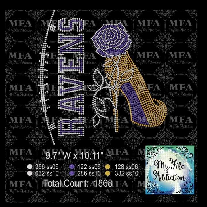 Ravens Rose Stiletto High Heel Shoe Rhinestone Digital Download File - My File Addiction