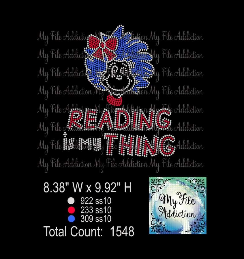 Reading is my Thing Rhinestone Digital Download File - My File Addiction