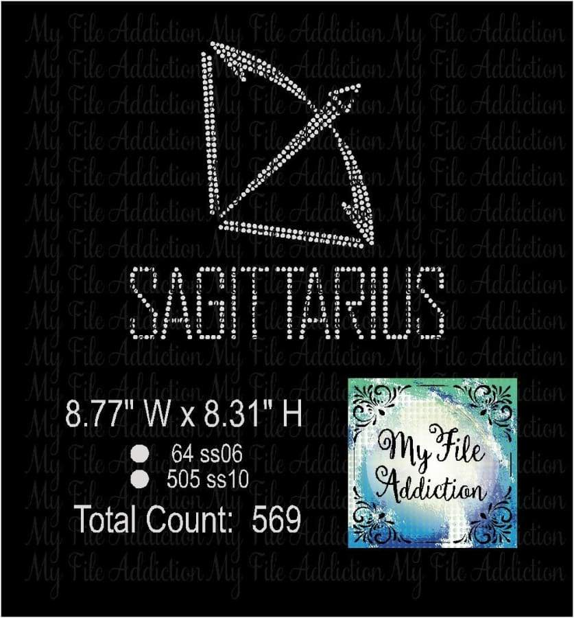 Sagittarius Zodiac Sign Rhinestone Digital Download File - My File Addiction