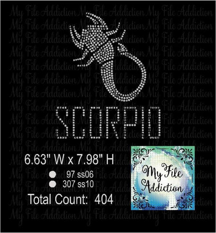 Scorpio Zodiac Rhinestone Digital Download File - My File Addiction