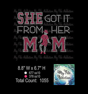 She Got It From Her Mom Jazz Dance Rhinestone Digital Download File - My File Addiction
